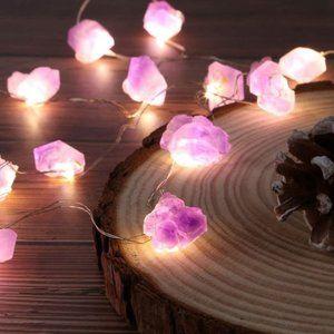 UO Nature Amethyst Crystal Raw Stones String light